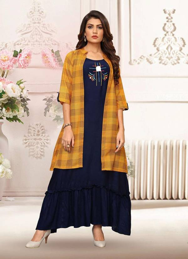 KVS latest Designer Party wear Hevy Rayon Printed Kurti with Shrug