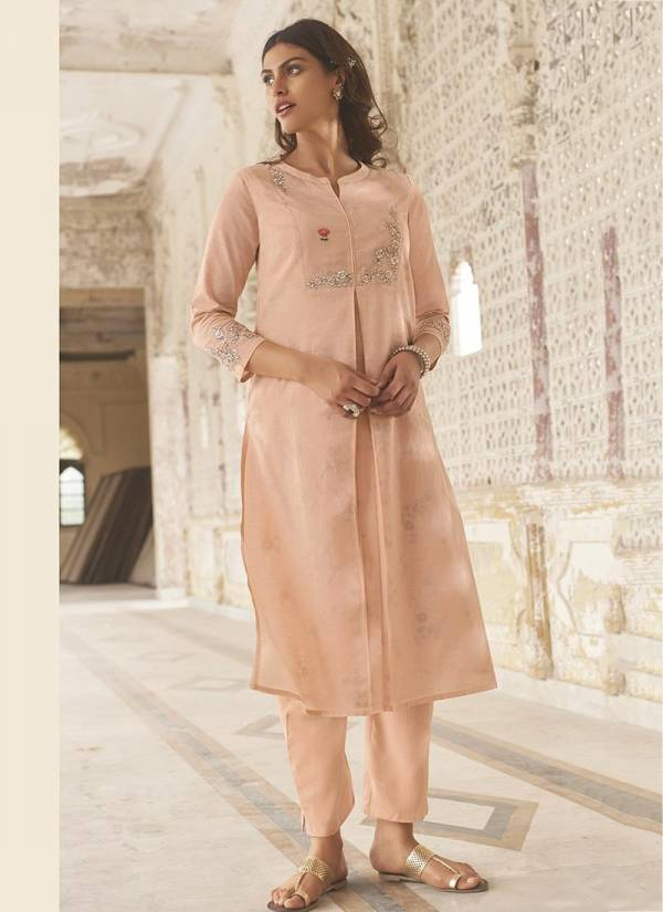 Saanjh Omtex Linen Cotton Partywear Handwork Kurti comes with Plazzo Collection