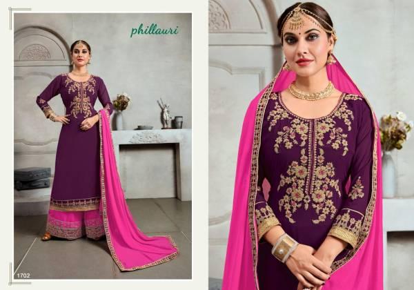 Phillauri Vol 17 Blooming Georgette Embroidery Work Semistiched Designer Plazzo Salwar Suit