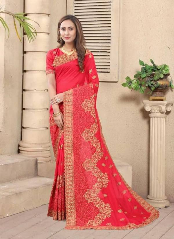 NARI NATURAL Latest Fancy Wedding Wear Vichitra Bloming Silk Heavy jari Embroidery Work With Stone Work Designer Saree Collection