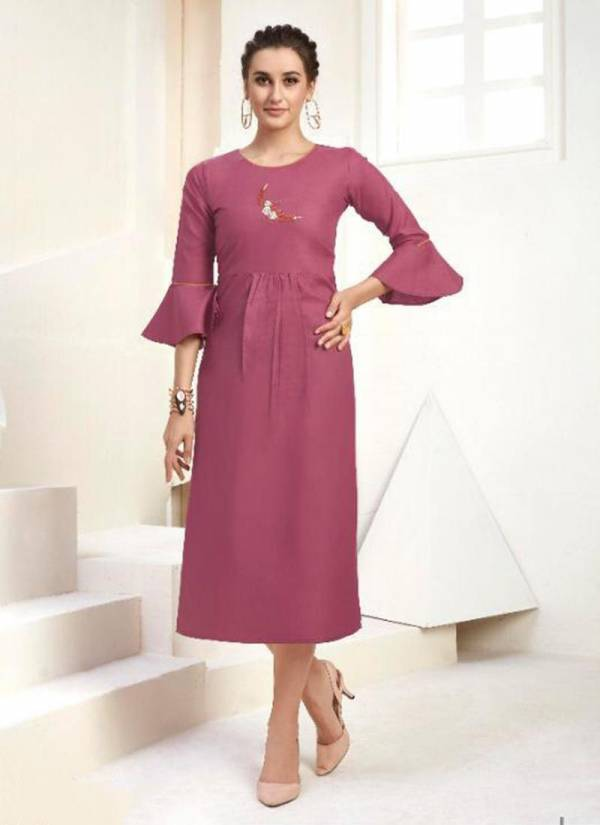 Deigner Cotton Embroidery Work Daily Wear Straight Kurtis Collection
