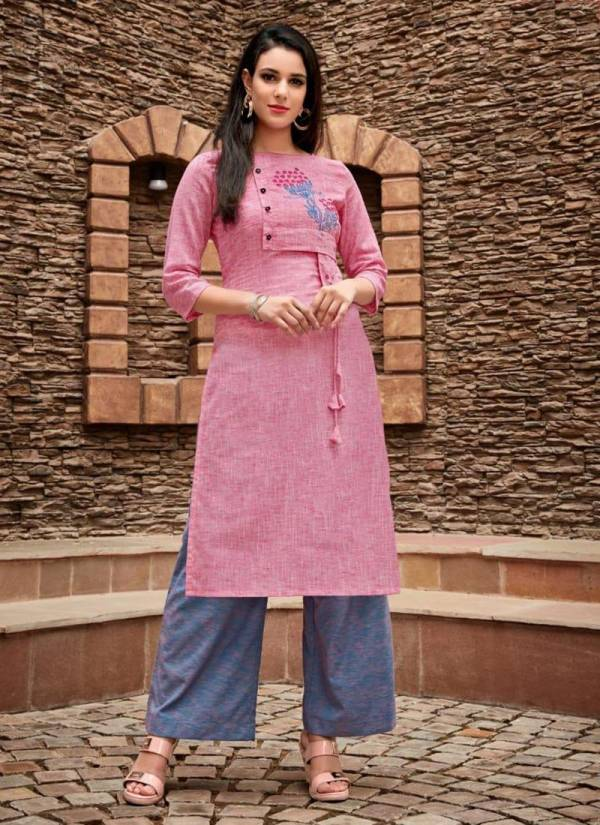 Latest Collection Of Cotton Regular Wear Embroidery Work Kurti With Palazzo CHAHAT
