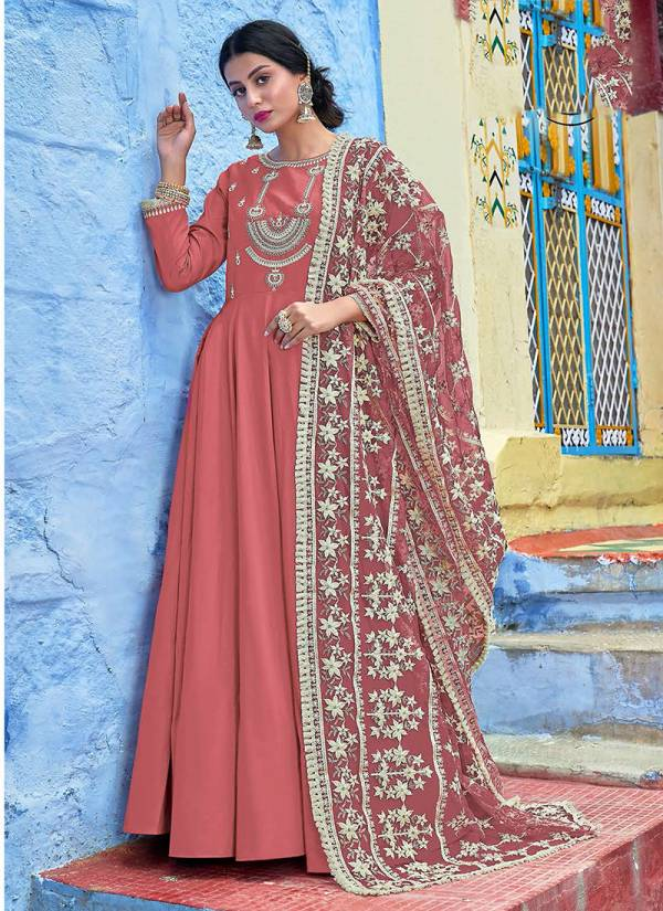 Virasat Muslin New Designer Lucknowi Work Readymade Anarkali Suits Collection 1043-1046