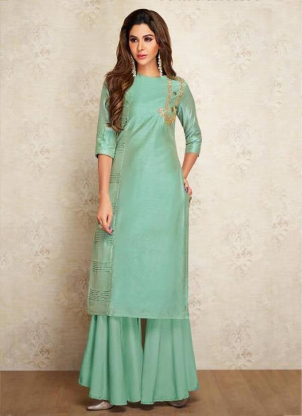 Arihant NX Viscose Silk New Designer Embroidery Work Kurtis With Palazzo Collection