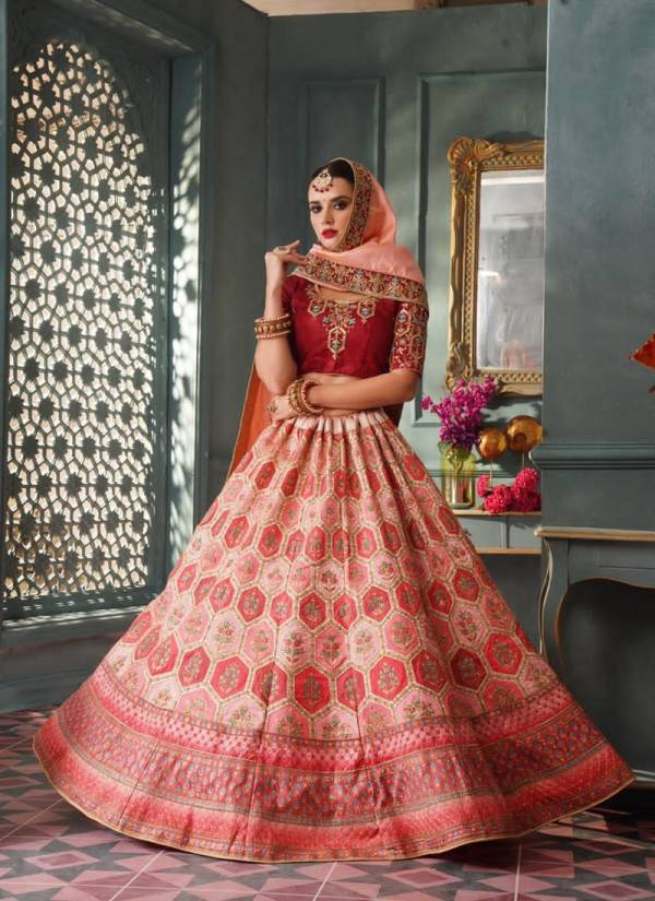 Designer Semistitched Pure Silk Bridal and Wedding Embroidery and Diamond Work Heavy Lehenga Choli Collectons