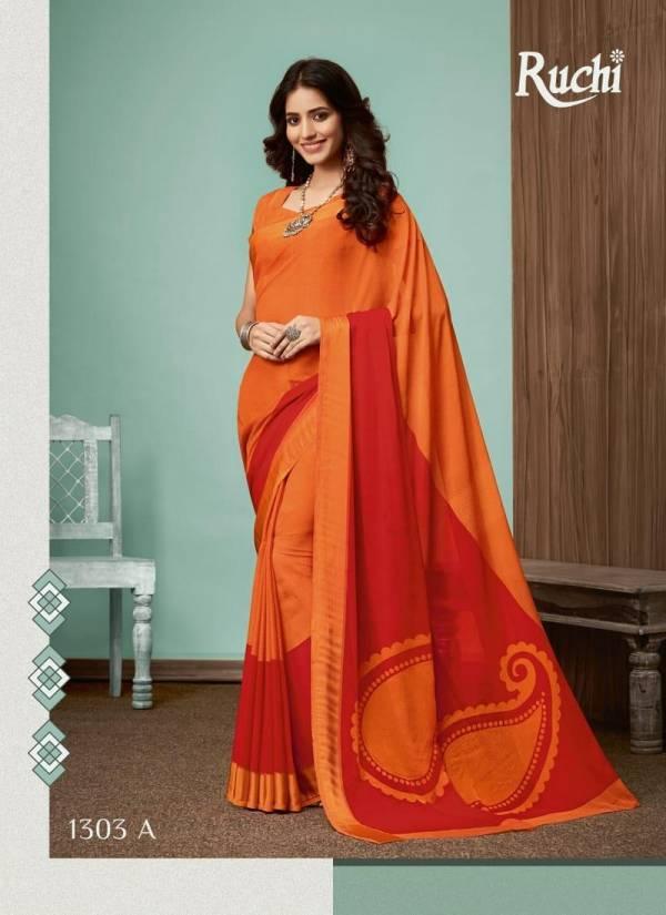 Ruchi Sarees Blueberry Vol 13 Chiffon Satin Border Designer Daily Wear Printed Sarees Collections