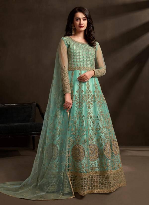 Floor Length Exclusive Designer Heavy Net Anarkali Suits Collection