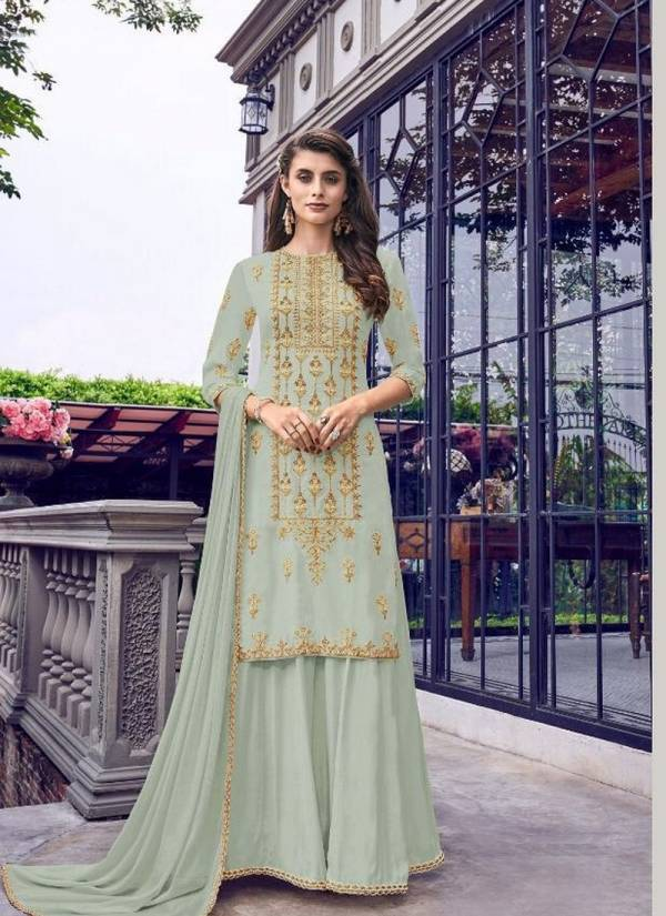 Swagat Violet Heavy Fauk Georgette Embroidery Work Designer Party Wear With Plazzo Collection