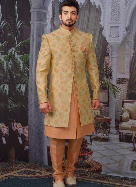 Latest Wedding Wear Designer Fancy Heavy Banarasi Jacquard Silk Embroidered Work Sherwanis Collection