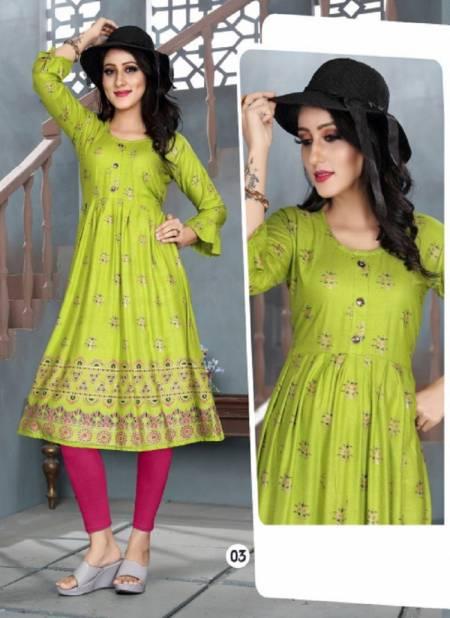 Aagya Mohini Fancy Ethnic Wear Rayon Designer  Anarkali Kurti Collection