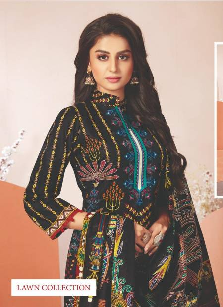 Aarvi Nur Lawn Collection 2 Printed Cotton Dress Materials Collection