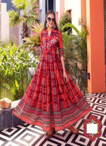 Aradhna Fashion Fire 1 Heavy Cotton Festive Wear Anarkali Long Stylish Kurti Collection