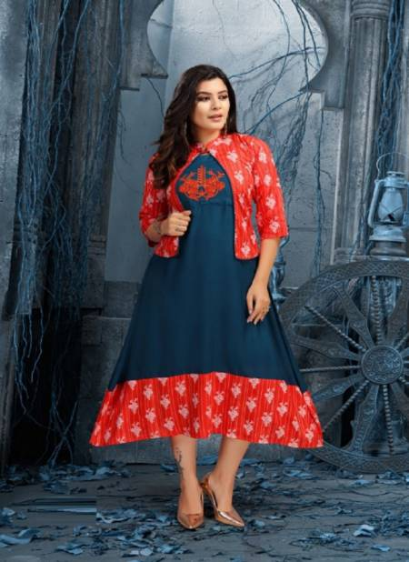 Beauty Queen Aanya Fancy Wear Rayon Kurti With Jacket Collection