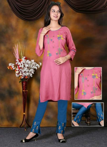 Beauty Queen Checkmate Ethnic Wear Designer Rayon Kurti With Bottom Collection
