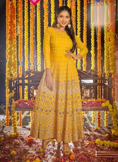 Blue Hills Diwali Night Festive Wear Rayon Printed  Anarkali Long Kurti Collection