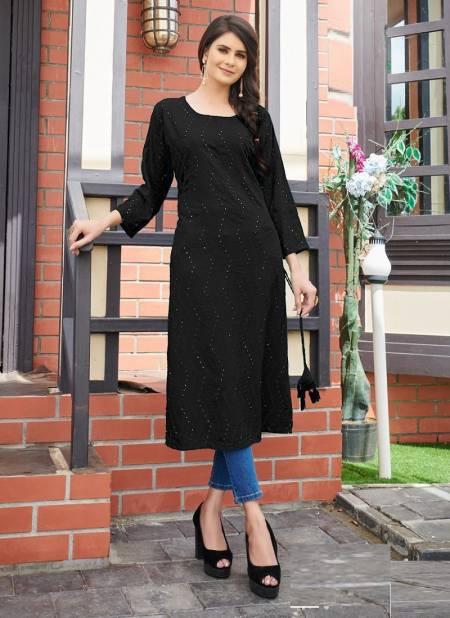 Blue Hills Elili Rayon Designer Casual Wear Printed Long Kurtis Collection