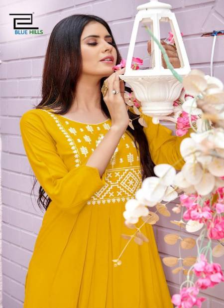 Blue Hills Miss India 1 Long Party wear Rayon Neck Work Kurti Collection