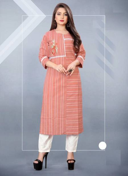 Blue Hills Orchid Casual Wear Cotton Jacquard Designer Kurti With Pant Latest Collection