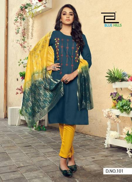 Blue Hills Queen 1 Designer Fancy Ethnic Wear Cotton Embroidery Work Ready Made Collection