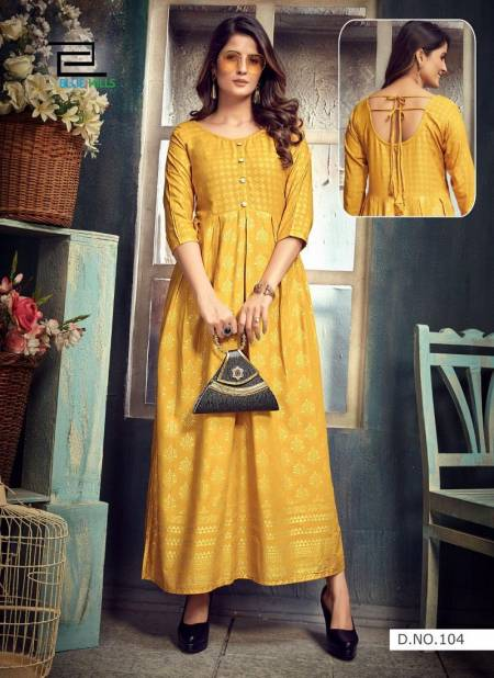 Blue Hills Show Off Fancy Latest Designers Festive Wear Long Rayon Printed Kurti Collection
