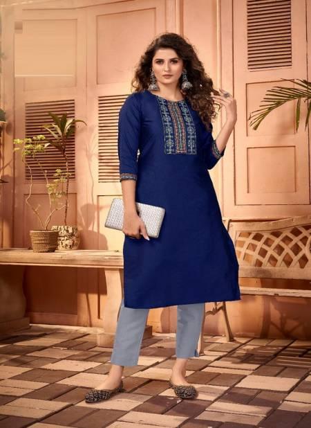 Blue Hills Solid 5 Cotton Tapeta Silk Ethnic Wear Embroidery Designer Kurti Collection