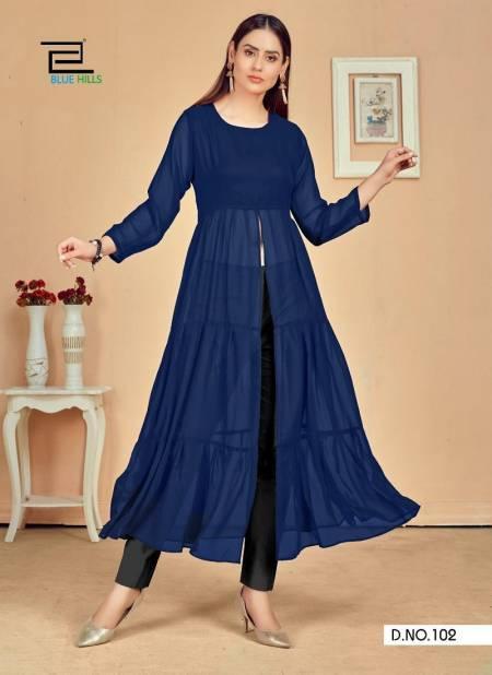 Blue Hills Tokyo Ethnic Wear Designer Georgette Long Kurti Collection