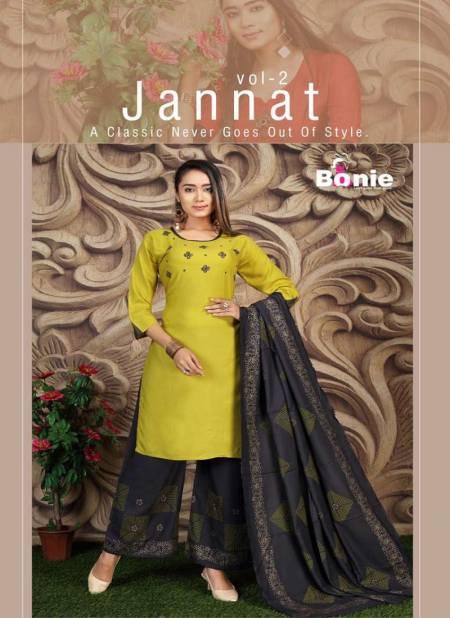 Bonie Jannat 2 Fancy Casual Wear Rayon Designer Kurti With Palazzo With Dupatta Collection