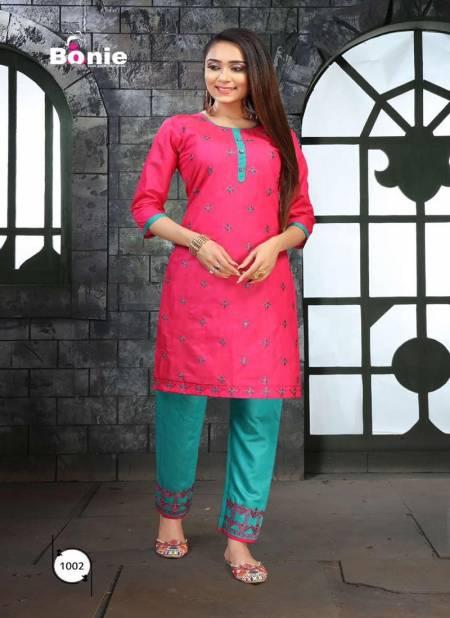 Bonie Portrait Casual Regular Wear Silk Designer Kurtis With Bottom Collection