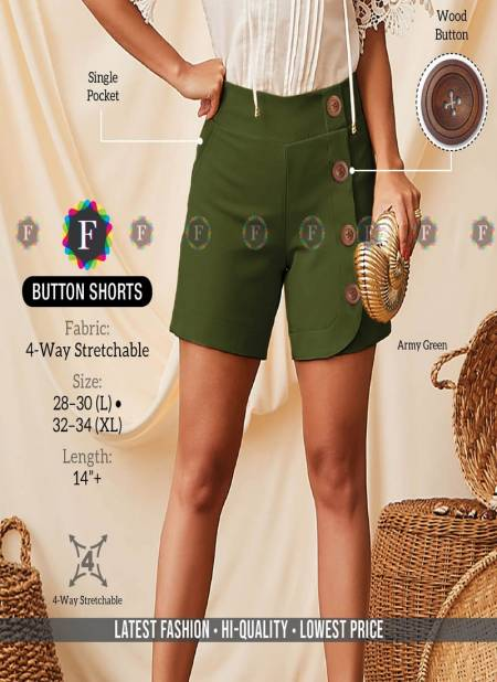 Button Shorts Latest Fancy Paery Wear Stretchable Shorts Collection