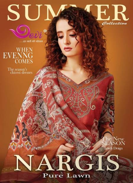 Devi Fashion Nargis Pure Lawn Karachi Cotton Printed Casual Wear Dress Material Collection