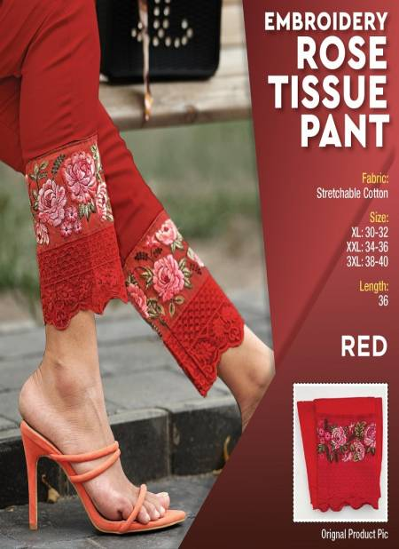 Embroidery Latest Fancy Designer Festive Wear Rosy Tissue Cotton Stylish Pant Collection