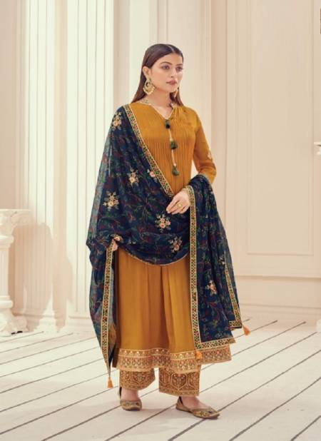Fiona Zardosh Heavy Occasion Wear Chinnon full flair with pletting Border Embroidery Salwar Kameez Collection
