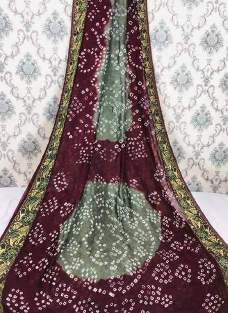 Flower Border Bandhej Casual Wear Art Silk Designer Saree Collection
