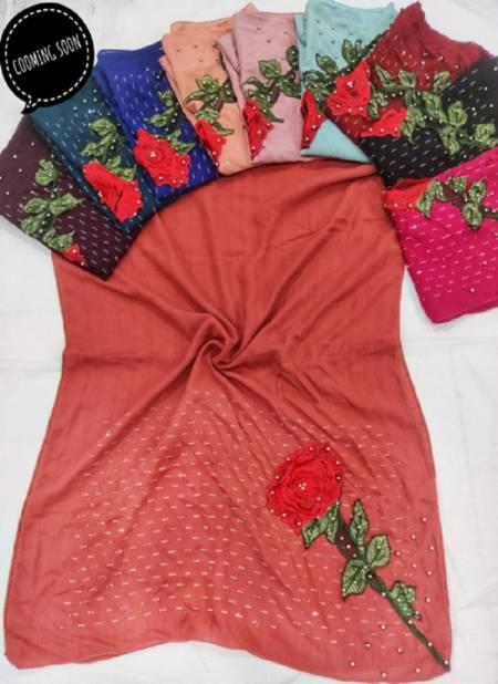 Flower Hijab 16  Fancy Casual Wear Hosiery Cotton Hijab Collection