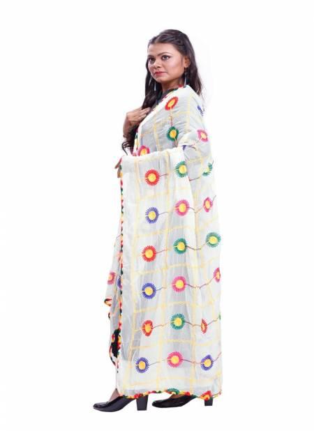 Flower White Fancy Designer Nazneen Dupatta Collection