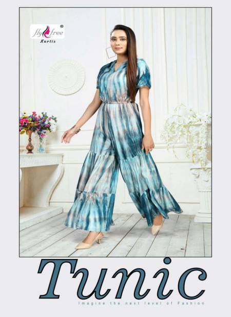Fly Free Tunic Latest fancy Designer Party Wear Rayon Designer Jump Suit Collection