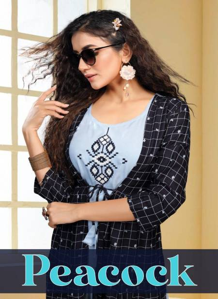 Ft Peacock Casual Wear Rayon Kurtis With Attached Jacket Collection