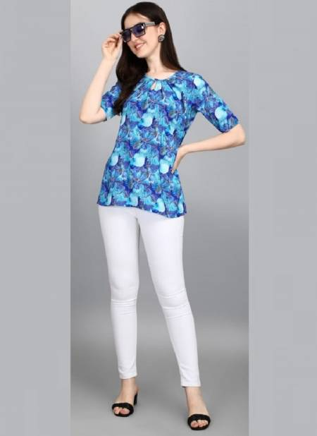 Jelite Orchid 2 Western Casual Wear Polyester Printed Ladies Top Collection