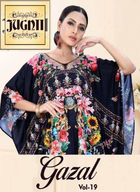 JUGNII GAZAL-THE KAFTAN COLLECTION VOL-19 LATEST DESIGN AND SMOOTH SHIMMER COTTON FABRIC