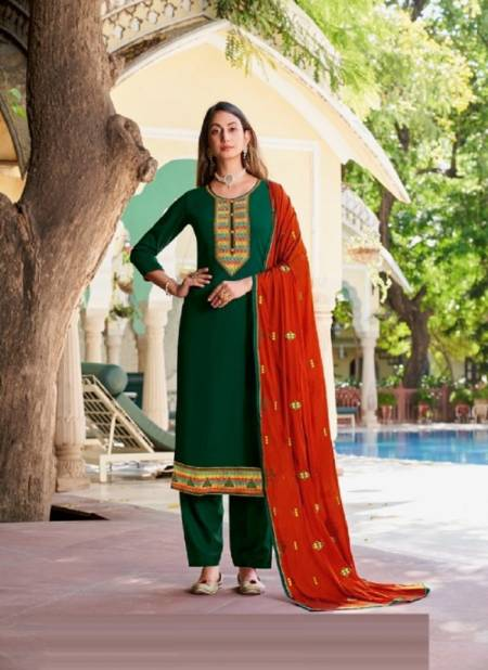 Kalarang Netra Fancy Festive Wear Silk Embroidery And Swarovski Work Designer Dress Material Collection