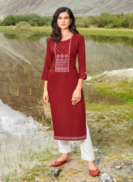 Kalaroop Beat Rayon With Embroidery Work Party Wear Designer Kurtis Collection