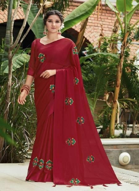 Kalista Kashmiraa Exclusive Festive Wear Designer Chinon Pata Fancy Saree Collection