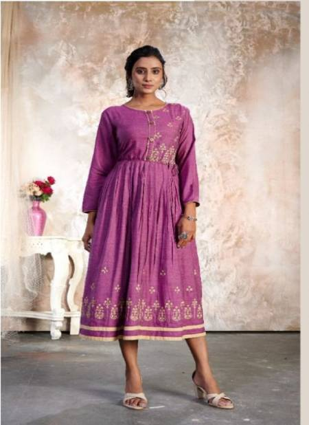 Kanasu Altis 2 Fancy Ethnic Wear Rayon Resham Silk Anarkali Long Kurti Collection
