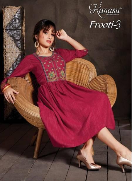 Kanasu Frooti 3 Ethnic Wear Fancy Rayon Flair Kurtis Collection