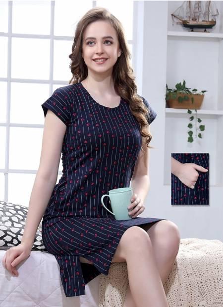 Kavyansika 184 Women Short Night Wear Hosiery Cotton Long T-shirt Type Latest Collection