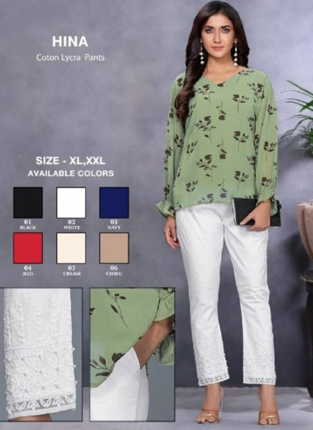 Kavyansika Hina Cotton Lycra Designer Stylish Casual Wear Pant Collection