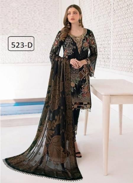 Kb Super Hit 523 Colors Faux Georgette Designer Festive Wear Salwar Suits Collection