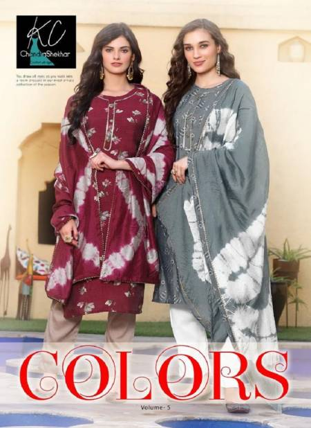 Kc Colors 5 Latest Fancy Designer Ethnic Wear Heavy softsilk printed top with heavy work Readymade Salwar Suit Collection