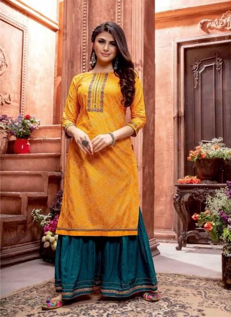 Kiana Bandhani 3 Festive Wear Pure Cotton Gold Print With Gotta Pati work Kurti With Bottom Collection