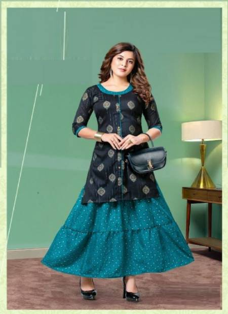 Kinti Kasturam Fancy Ethnic Wear Rayon Printed Top With Skirt Collection